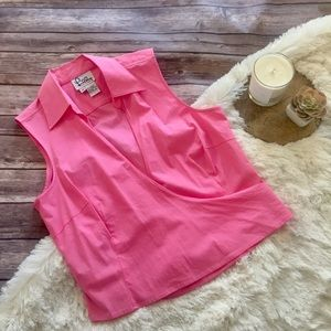 Bright pink Lilly Pulitzer collared wrap tie tank